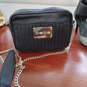 BEBE black crossbody purse gold chain